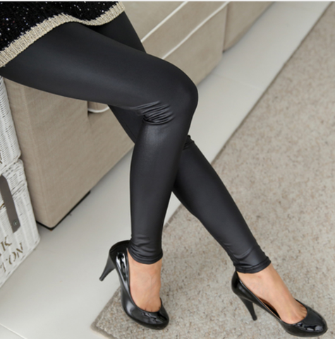 Faux Leather Leggings - Leather Jeans - Rebel Style Shop