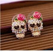 Skull with Rose Earrings - Earrings - Rebel Style Shop