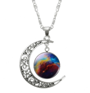 Galaxy Crescent Moon Pendant Necklace - necklace - Rebel Style Shop