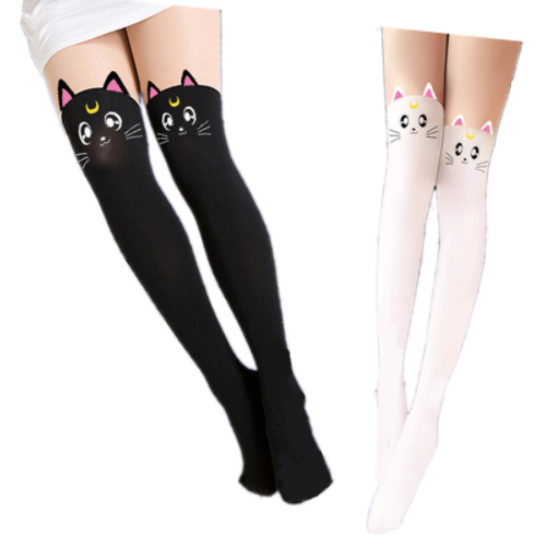 a9f7409b837 Sailor Moon Tights Luna Cat Faux Thigh High Pantyhose - Stockings - Rebel  Style Shop