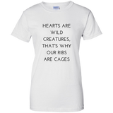 Hearts Are Wild Creatures Ladies' 100% Cotton T-Shirt - T-Shirts - Rebel Style Shop