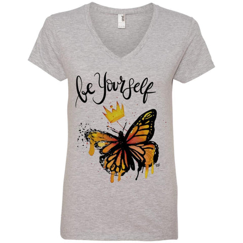 "Inspiring Butterfly Ladies' V-Neck T-Shirt - ""Be Yourself"""
