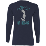 Mermaid Of Honor Ladies' Cotton LS T-Shirt - T-Shirts - Rebel Style Shop