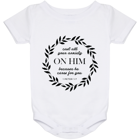 Cast All Your Anxiety On Him Baby Onesie 24 Month - T-Shirts - Rebel Style Shop