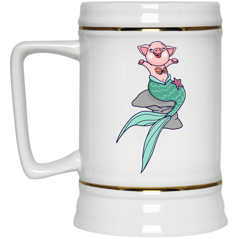 Mermaid Pig Beer Stein 22oz. - Drinkware - Rebel Style Shop