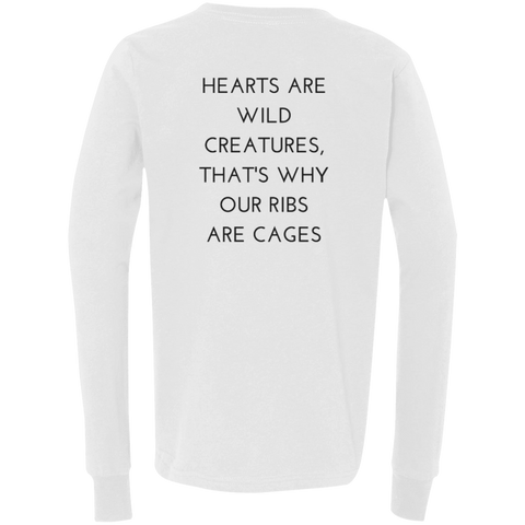 Hearts Are Wild Creatures Youth Jersey LS T-Shirt - T-Shirts - Rebel Style Shop