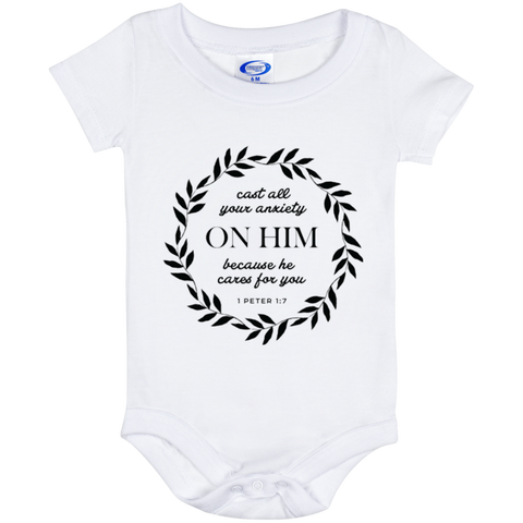 Cast All Your Anxiety On Him Baby Onesie 6 Month