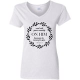 Cast All Your Anxiety On Him Ladies' 5.3 oz. V-Neck T-Shirt - T-Shirts - Rebel Style Shop