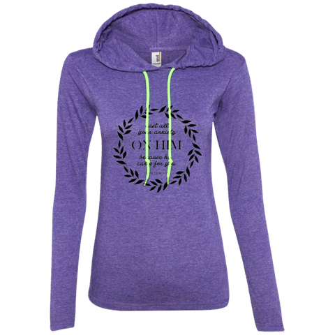 Cast All Your Anxiety On Him Ladies' LS T-Shirt Hoodie