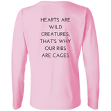Hearts Are Wild Creatures Ladies' LS Cotton T-Shirt - T-Shirts - Rebel Style Shop