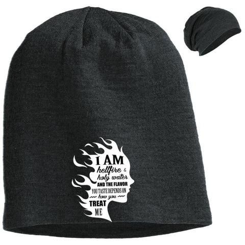 "Feminist Gifts - ""I Am Both Hellfire And Holy Water, And The Flavor You Taste Depends On How You Treat Me"" Beanie"