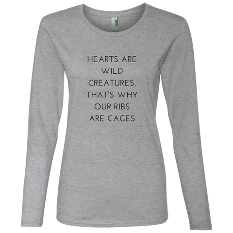 Hearts Are Wild Creatures Ladies' Lightweight LS T-Shirt - T-Shirts - Rebel Style Shop