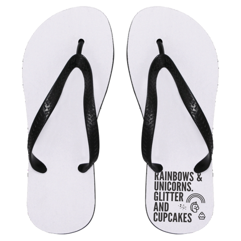 Rainbows And Unicorns, Glitters And Cupcakes Flip Flops - Apparel - Rebel Style Shop