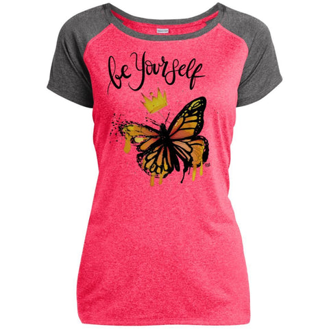 "Inspiring Butterfly Ladies Heather T-Shirt - ""Be Yourself"""