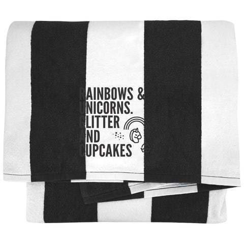 Rainbows And Unicorns, Glitters And Cupcakes Towels - Apparel - Rebel Style Shop