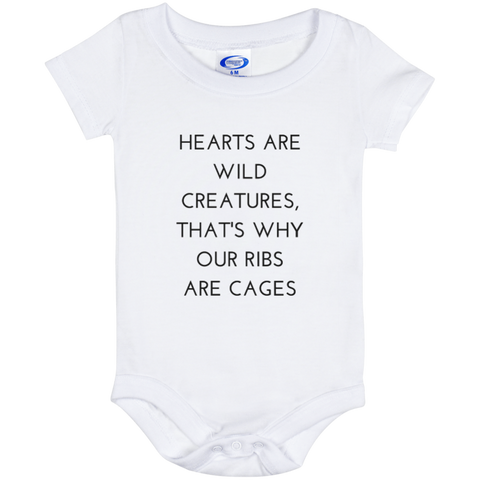 Hearts Are Wild Creatures Baby Onesie 6 Month - T-Shirts - Rebel Style Shop