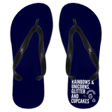 Rainbows And Unicorns, Glitter And Cupcakes Flip Flops - Apparel - Rebel Style Shop