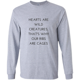 Hearts Are Wild Creatures LS Ultra Cotton T-Shirt - T-Shirts - Rebel Style Shop