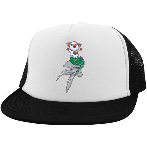 Mermaid Pig District Trucker Hat with Snapback - Hats - Rebel Style Shop