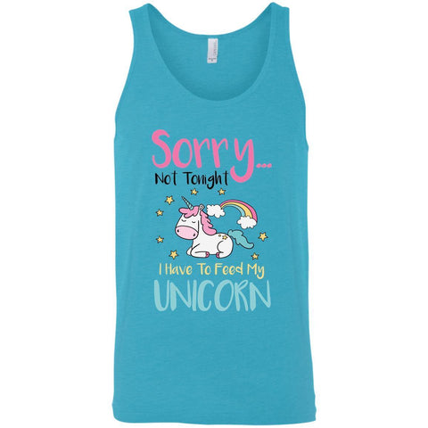 "Sarcastic Men's Tank Tops - ""Sorry... Not Tonight. I Have To Feed My Unicorn"""