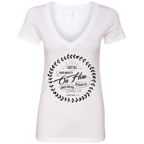Cast All Your Anxiety On Him Ladies' Deep V-Neck T-Shirt - T-Shirts - Rebel Style Shop