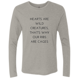 Hearts Are Wild Creatures Men's Triblend LS Crew - T-Shirts - Rebel Style Shop