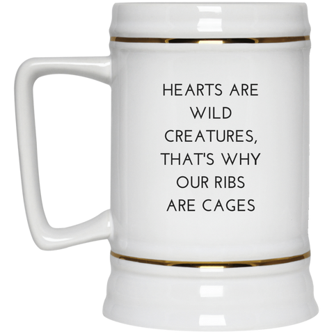 Hearts are Wild Creatures Beer Stein 22oz. - Drinkware - Rebel Style Shop