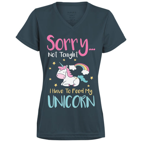 "Sarcastic Ladies Shirt - ""Sorry... Not Tonight. I Have To Feed My Unicorn"""