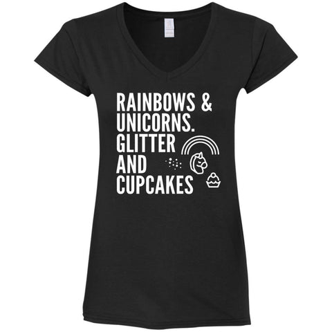 Rainbows And Unicorns, Glitter And Cupcakes Ladies Shirts - Apparel - Rebel Style Shop