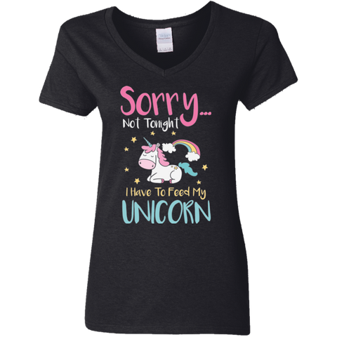 Sorry... Not Tonight Ladies' 5.3 oz. V-Neck T-Shirt