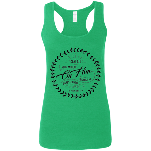 Cast All Your Anxiety On Him Ladies' Softstyle Racerback Tank - T-Shirts - Rebel Style Shop