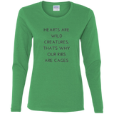 Hearts Are Wild Creatures Ladies' Cotton LS T-Shirt - T-Shirts - Rebel Style Shop