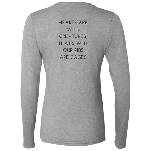 Hearts Are Wild Creatures Ladies' Softstyle 4.5 oz. LS T-Shirt - T-Shirts - Rebel Style Shop