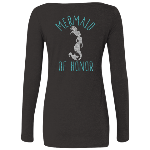 Mermaid Of Honor Level Ladies' Triblend LS Scoop - T-Shirts - Rebel Style Shop