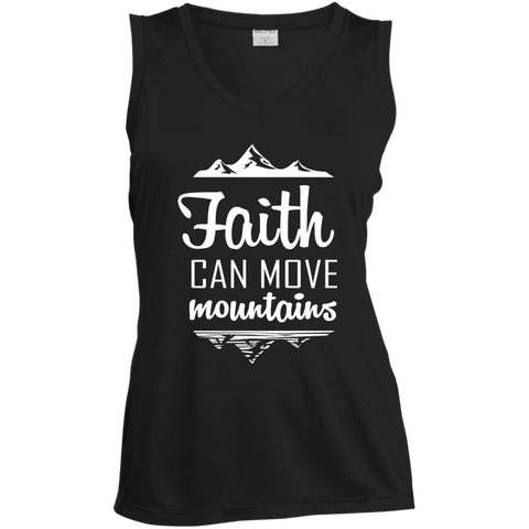 Faith Can Move Mountains Ladies' Sleeveless Moisture Absorbing V-Neck - T-Shirts - Rebel Style Shop