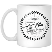 Cast All Your Anxiety On Him 11 oz. White Mug - Drinkware - Rebel Style Shop