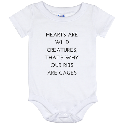 Hearts Are Wild Creatures Baby Onesie 12 Month - T-Shirts - Rebel Style Shop