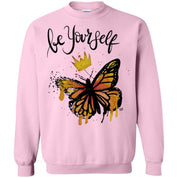 "Inspiring Butterfly Crewneck Pullover Sweatshirt  8 oz. - ""Be Yourself"""