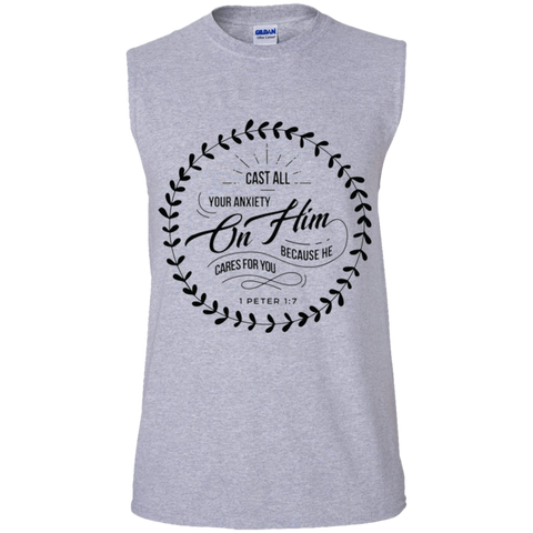 Cast All Your Anxiety On Him Men's Ultra Cotton Sleeveless T-Shirt - T-Shirts - Rebel Style Shop