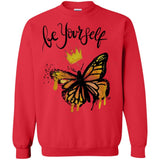 "Butterfly Be Yourself Design Inspiring Butterfly Crewneck Pullover Sweatshirt  8 oz. - ""Be Yourself"" - Sweatshirts - Rebel Style Shop"