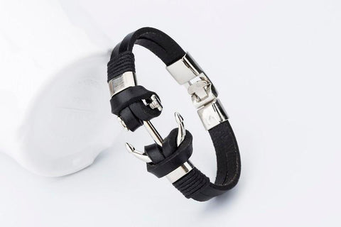 Anchor Leather Men's Bracelet - Rebel Style Shop - 6