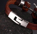 Anchor Leather Men's Bracelet - Rebel Style Shop - 5