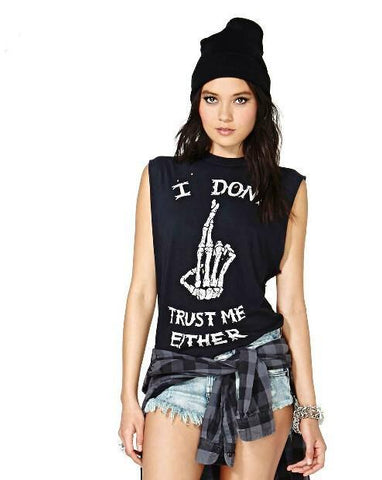 I Don't Trust Me Either Punk Sleeveless Shirt - Top - Rebel Style Shop