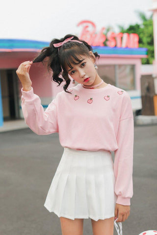 Cute Japanese Harajuku Strawberry Pullover Sweater - pullover - Rebel Style Shop