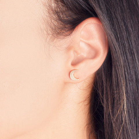 Crescent Moon Stud Earrings - Rebel Style Shop - 1
