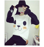 Korean Cartoon Panda Print Sweatshirt