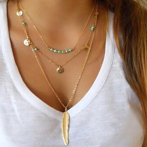 Boho Multilayer Feather Necklace - necklace - Rebel Style Shop