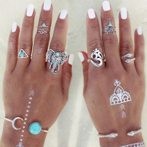 Retro Boho Rings (8-pc Set) - Rebel Style Shop - 1
