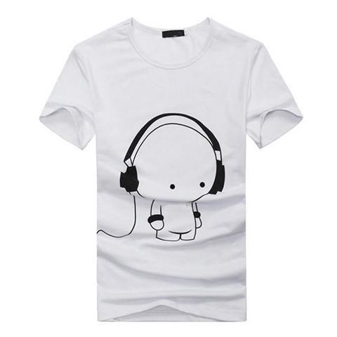 Cute Cartoon with Headphones Funny T-shirt - Rebel Style Shop - 1