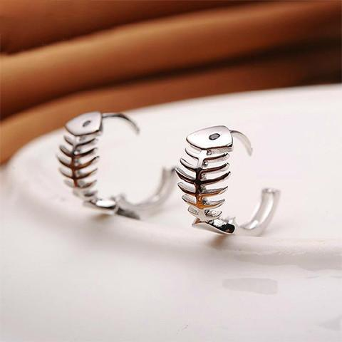 Silver Fishbone Hoop Earrings - Rebel Style Shop - 1